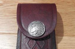"""Brown 5"""" leather knife sheath. Indian Head nickel snap - fit"""