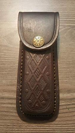 """Brown Textured Leather Knife Sheath - Holds a Buck 110. 5"""" C"""