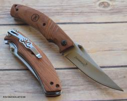 BROWNING WOOD HANDLE FOLDING KNIFE WITH POCKET CLIP BRAND NE