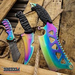 "Wartech Buckshot Knives 3PC Rainbow Combo Set 8.5"" Punisher"