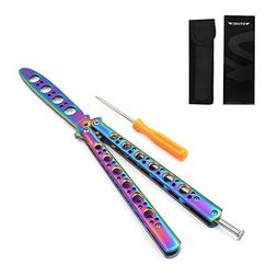 HTOMT Practice Butterfly Knife, Rainbow Stainless Steel Blun