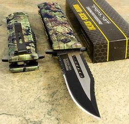 TAC FORCE Camo Spring Assisted Bowie Sawback Blade Folding P