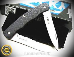 Carbon Fiber Lucky 2 Blade Straight with Serrated Folding Kn