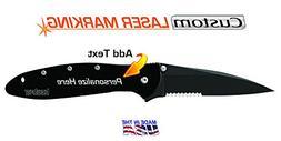 Custom Laser Engraved Kershaw Leek Knife  Serrated Edge