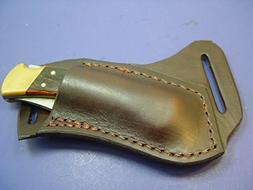 Custom Leather Left Hand Cross Draw Pocket Knife Sheath Far