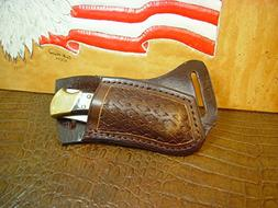 Custom left hand cross draw knife sheath for a buck 110 knif