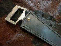 2As KNIVES CUSTOM MADE DAMASCUS STEEL HUNTING KNIFE WITH LEA