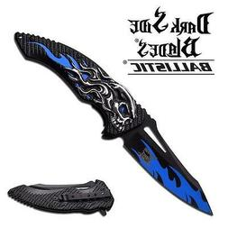 DarkSide Blade Spring Assisted Knife 5 inches With Blue Skul