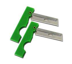 Derma-Safe Folding Utility Razor Knife 2-pack GREEN for Emer
