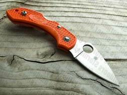 Spyderco Dragonfly 2 Plain Edge Folding Knife, Orange