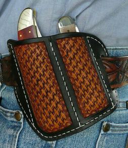 Dual Leather Pocket Knife Sheath Medium/Large Ruff's Saddl