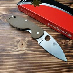 Spyderco Efficient Brown G10 Handle Satin Plain Edge Linerlo
