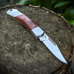 ELK RIDGE Wood Lockback FOLDING POCKET KNIFE Hunting Camping