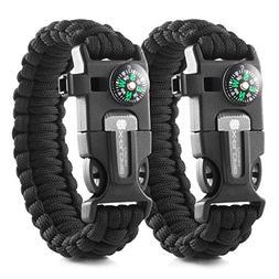 X-Plore Gear Emergency Paracord Bracelets   Set of 2  The Ul