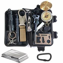 emergency Survival Gear Kit 14 in 1, Tool for Camping, Hikin