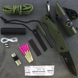 Elk Ridge ER-PK4G Survival Kit with Folding Knife, Green, 3-