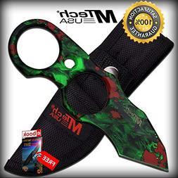FIXED BLADE TACTICAL SHARP KNIFE Mtech Green Skull Zombie Ta