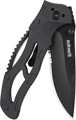 The Atomic Bear Folding Knife with Half Serrated Stainless S