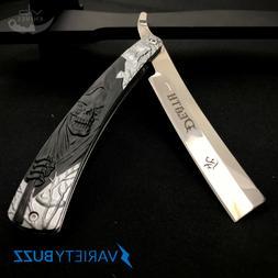 FOLDING POCKET KNIFE BLACK STRAIGHT EDGE BLADE BARBER RAZOR