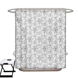 Grey Shower Curtain Collection by Swirled Blossom Leaves Kit