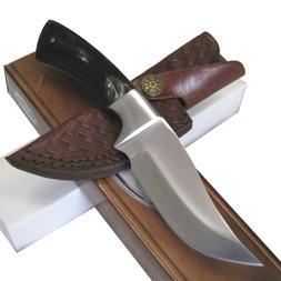 HORN Handle HUNTING KNIFE Skinner Fixed Blade w/ LEATHER She