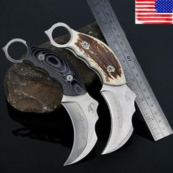 Karambit Claw Knives Survival Hunting Knife Fixed Blade Stai