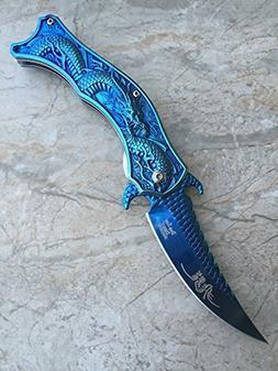 Dark Side Blades Knife Blue Titanium Fantasy Dragon Knife- B