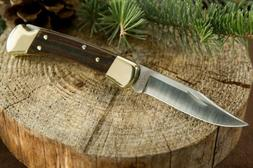 Buck Knives B-110 Folding Hunter Knife W/Sheath Leather