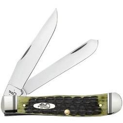 CASE XX KNIVES OLIVE GREEN BONE TRAPPER KNIFE #22541 USA MAD