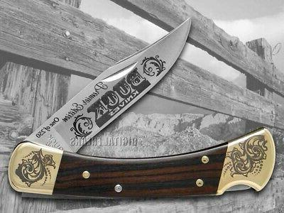 Buck 110 Ebony Wood Folding