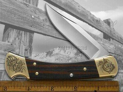 Buck 110 Premier Ebony Wood Hunter 1/250 Pocket Knife Stainless