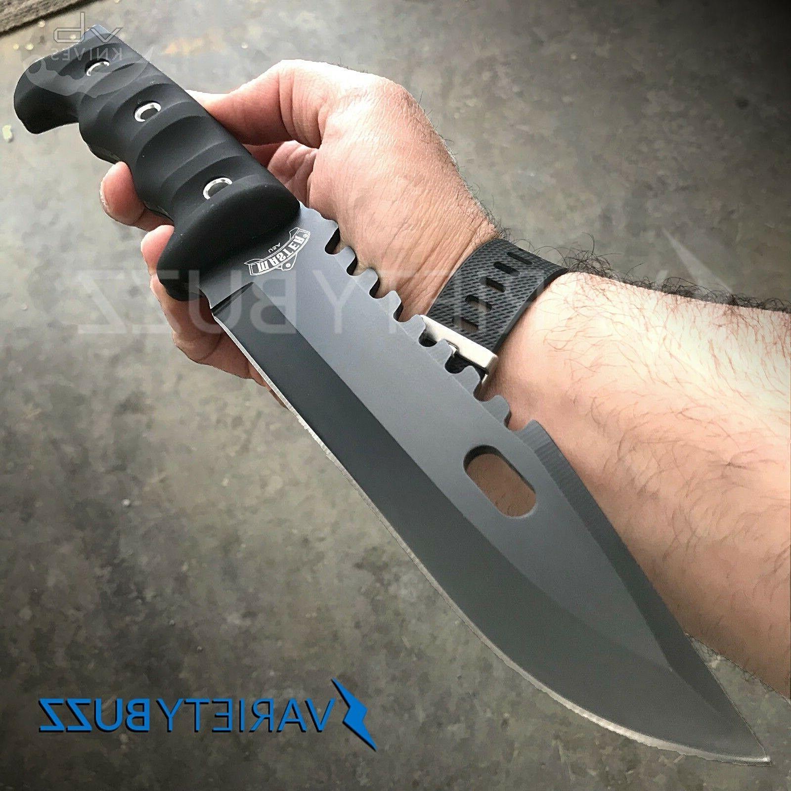 "12"" TACTICAL SURVIVAL Rambo Full Tang FIXED BLADE KNIFE Hunt"
