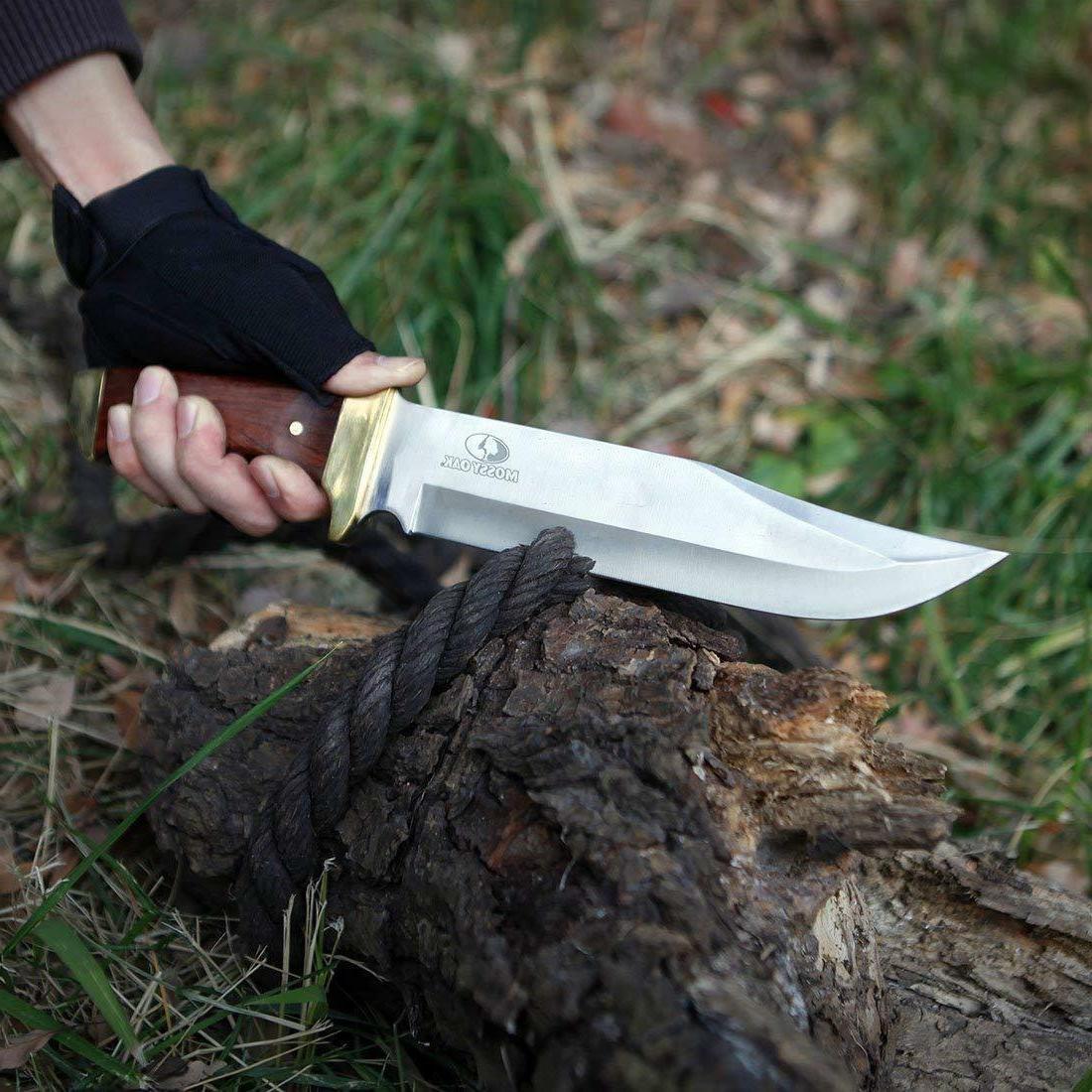 MOSSY OAK Knife Wood Handle Leather