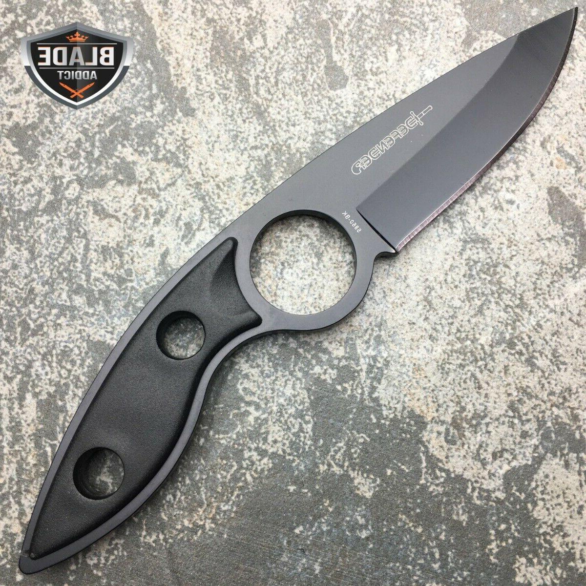 "7"" BLACK FULL FIXED NECK KNIFE SHEATH NEW"