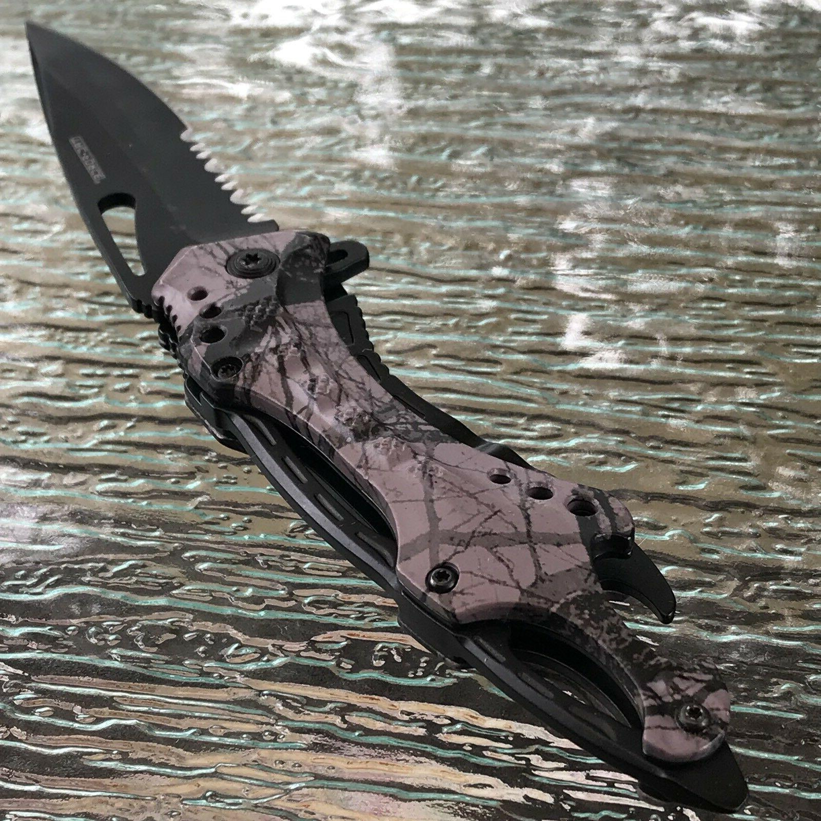 "8.5"" FORCE ASSISTED TACTICAL FOREST CAMO FOLDING"