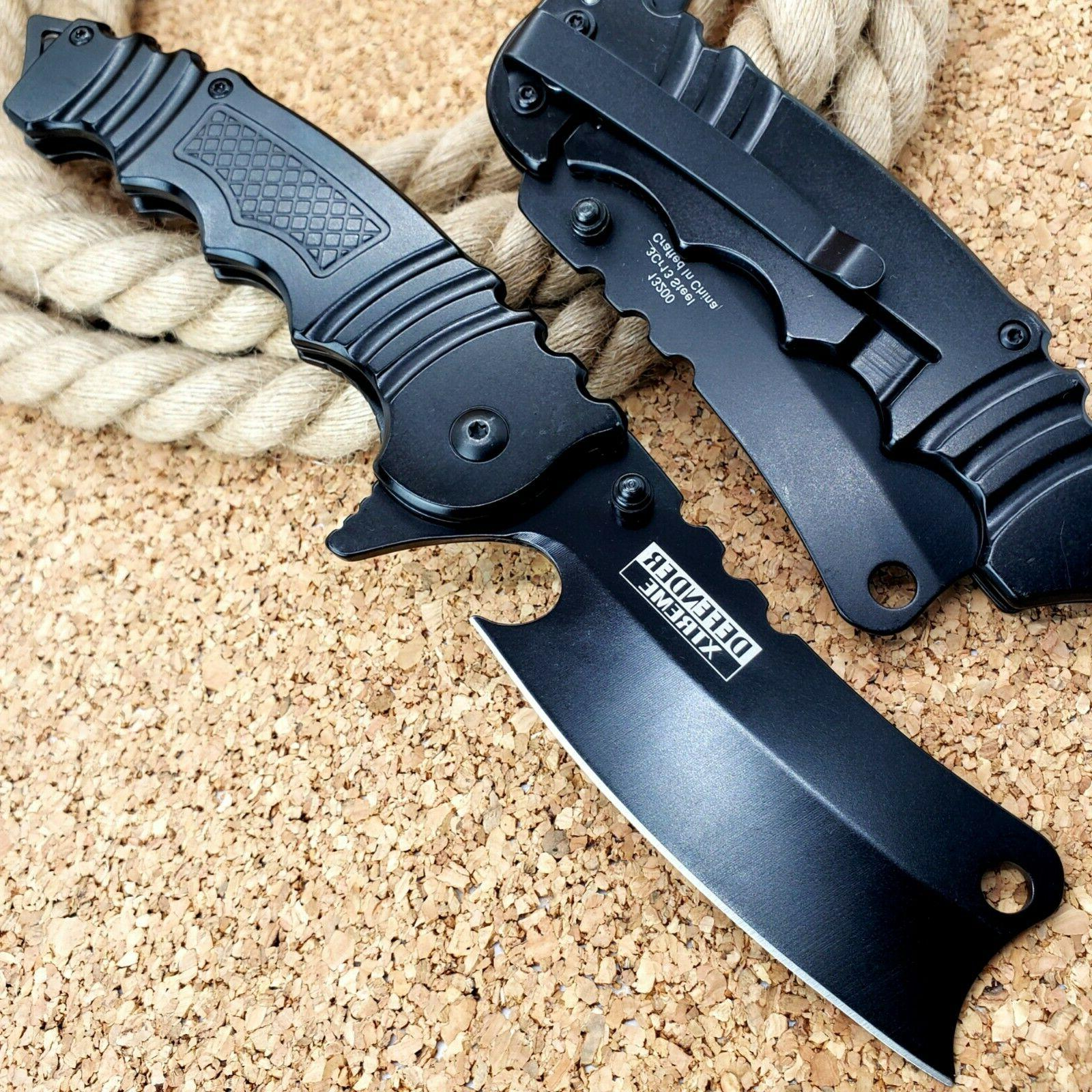 "8.5"" Assisted Folding Pocket Knife Black Blade EDC"
