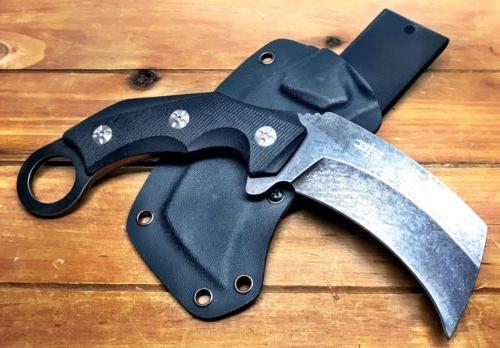 """8.5"""" fixed karambit G10 Handle Kydex Sheath Stonewash"""