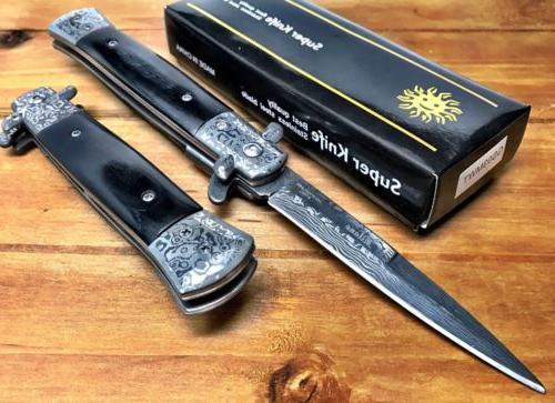 "8.75"" Stiletto Damascus Pocket Knife -"