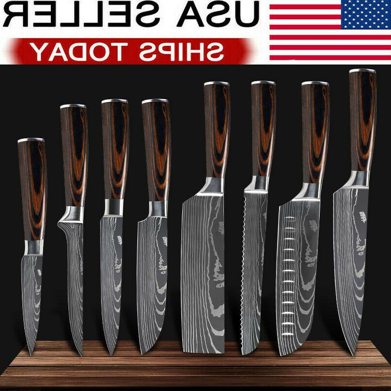 8 piece kitchen knives set japanese damascus