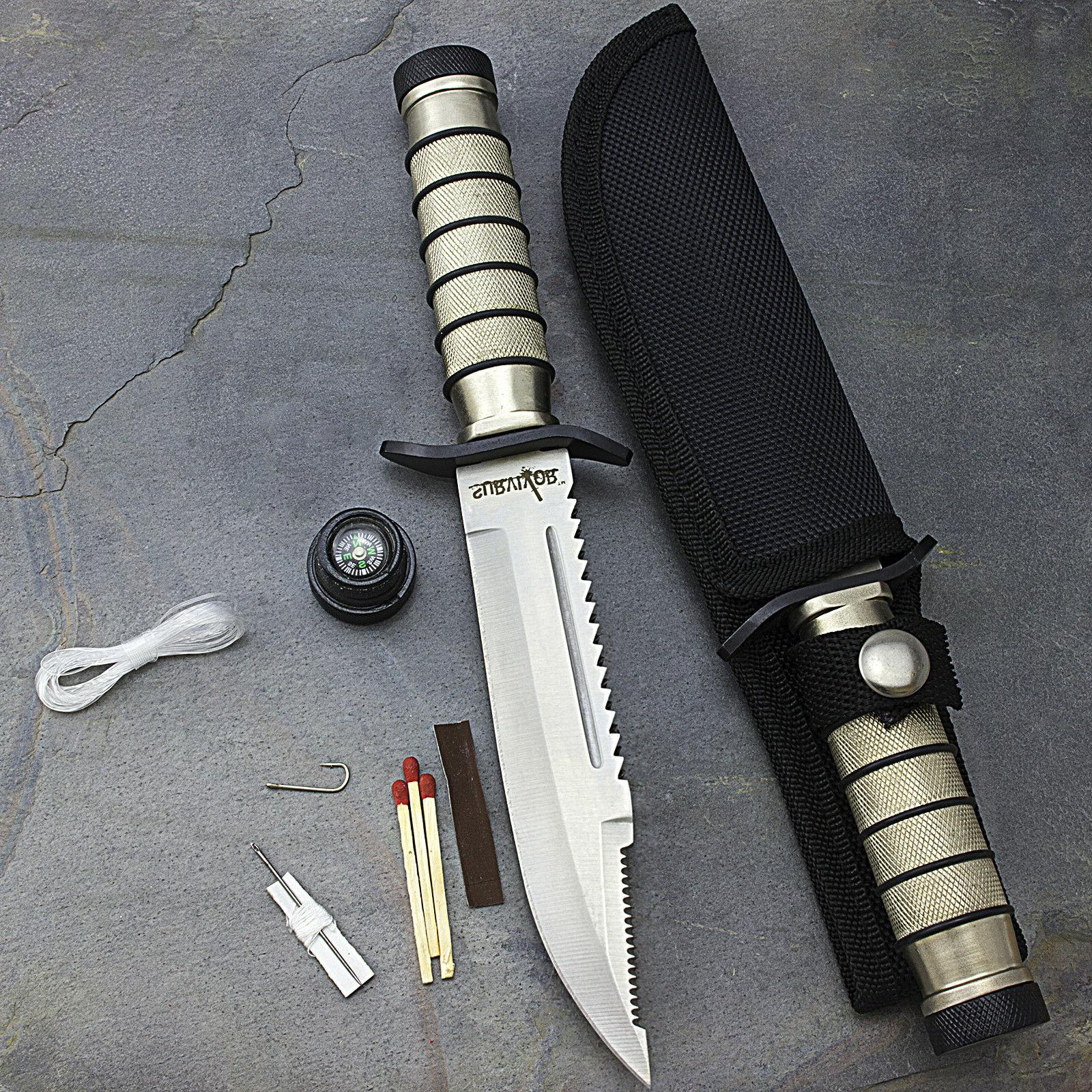 "9.5"" SURVIVAL COMBAT TACTICAL HUNTING KNIFE w/ SHEATH Milita"