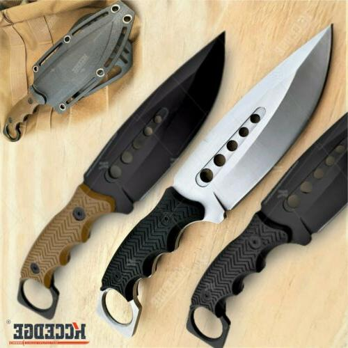"""9"""" FULL TANG FIXED BLADE KNIFE Kydex Sheath Hunting Knife Dr"""