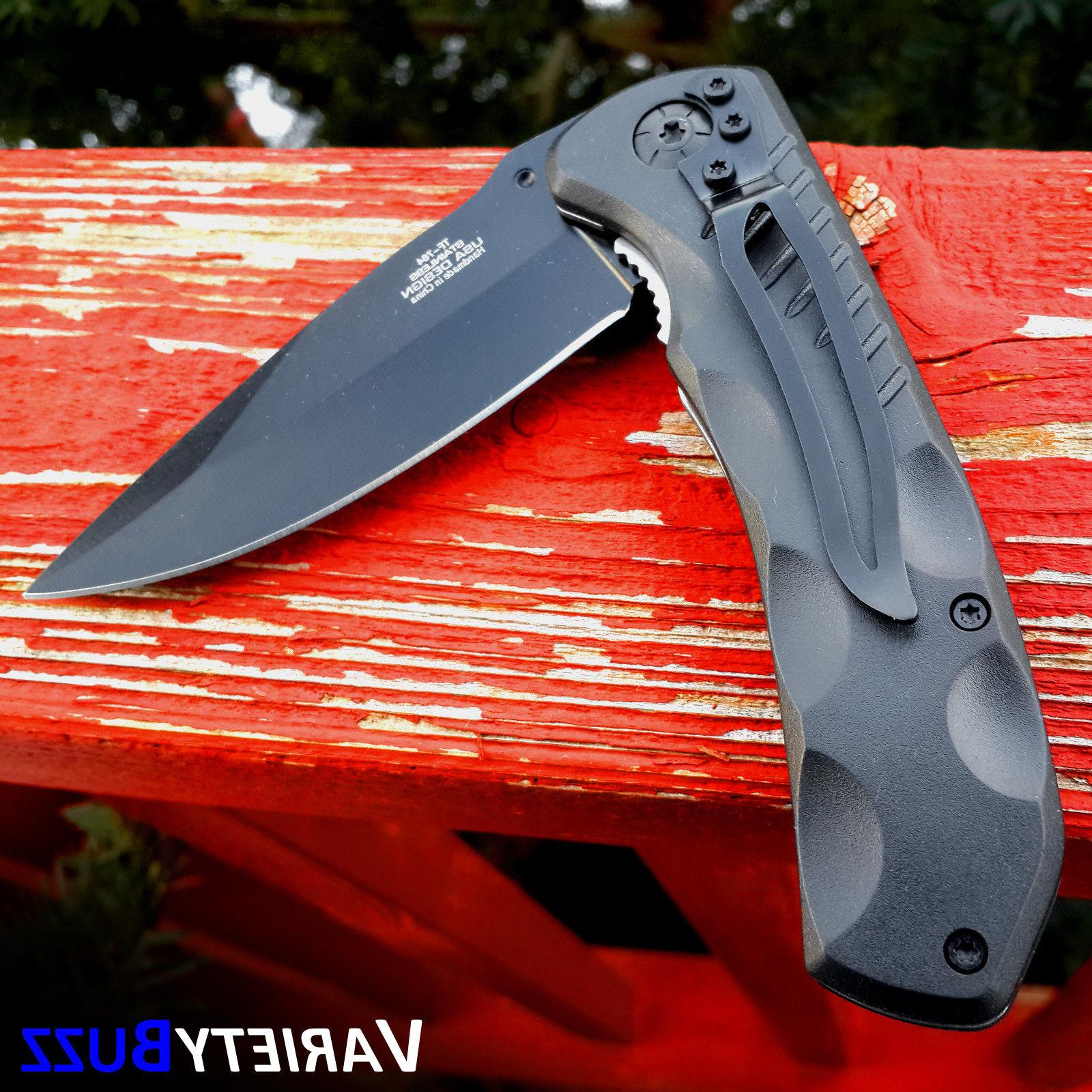 BLACK SPRING TACTICAL RESCUE Assisted Folding Blade Pocket Knife