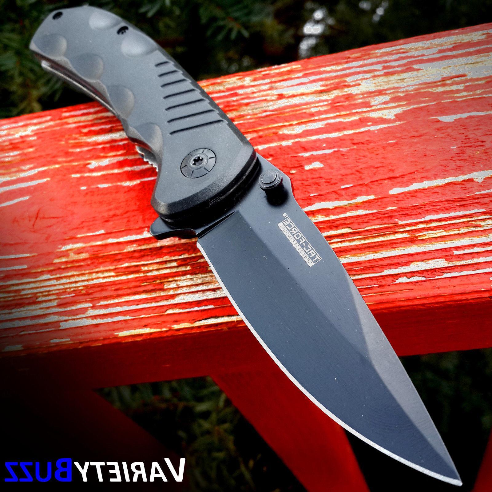 BLACK TACTICAL Assisted Open Pocket Knife TAC-FORCE