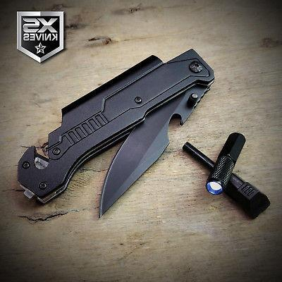 Black EDC Spring Assisted LED Multifunction Pocket Survival