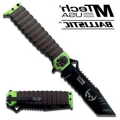 MTech USA MT-A820GN Ballistic Sping Assist Knife, Black Half