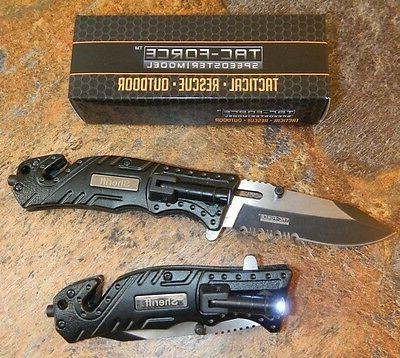 TAC-FORCE Black SHERIFF Spring Assisted LED Rescue Pocket