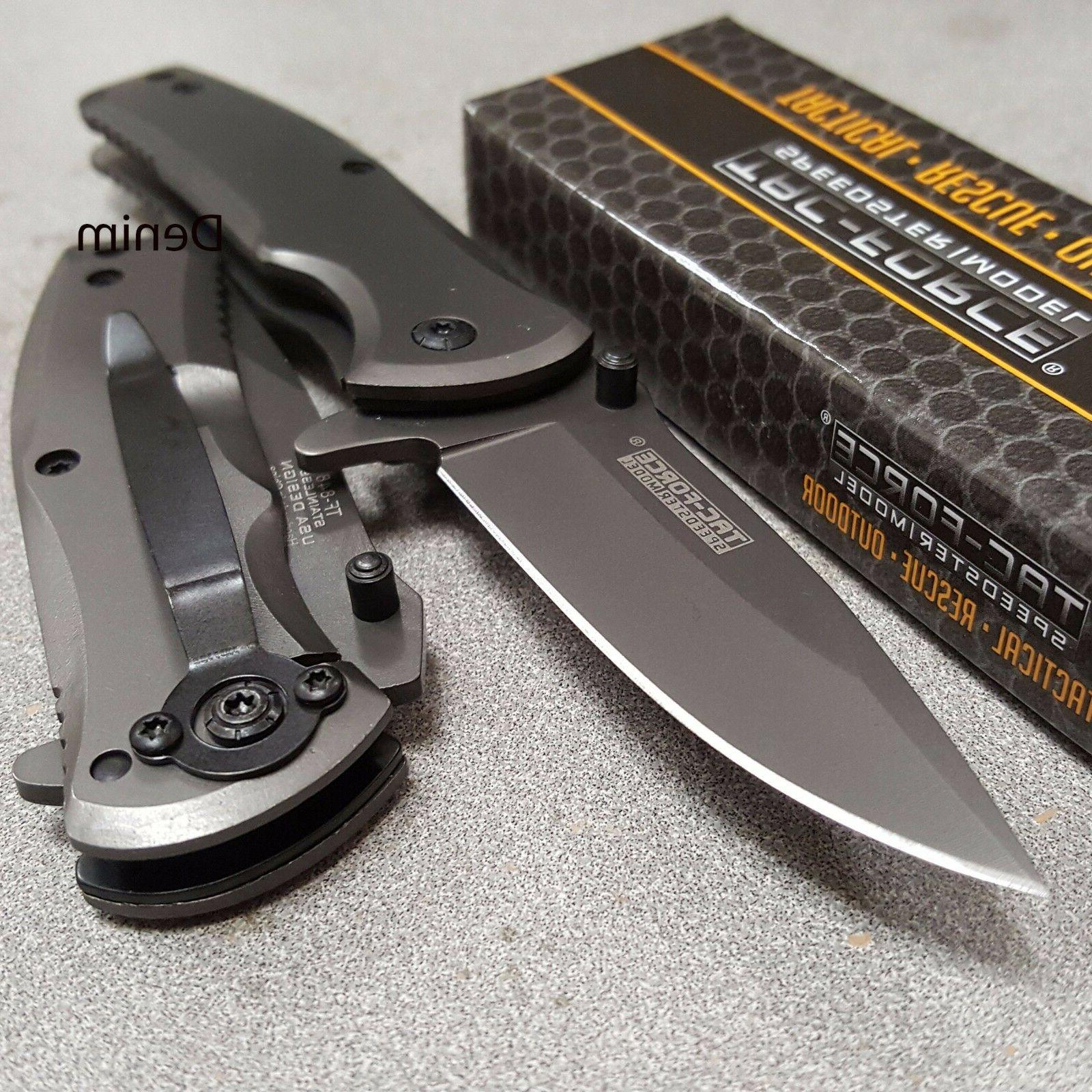 TAC-FORCE Grey TITANIUM Spring Assisted Open TACTICAL Foldin