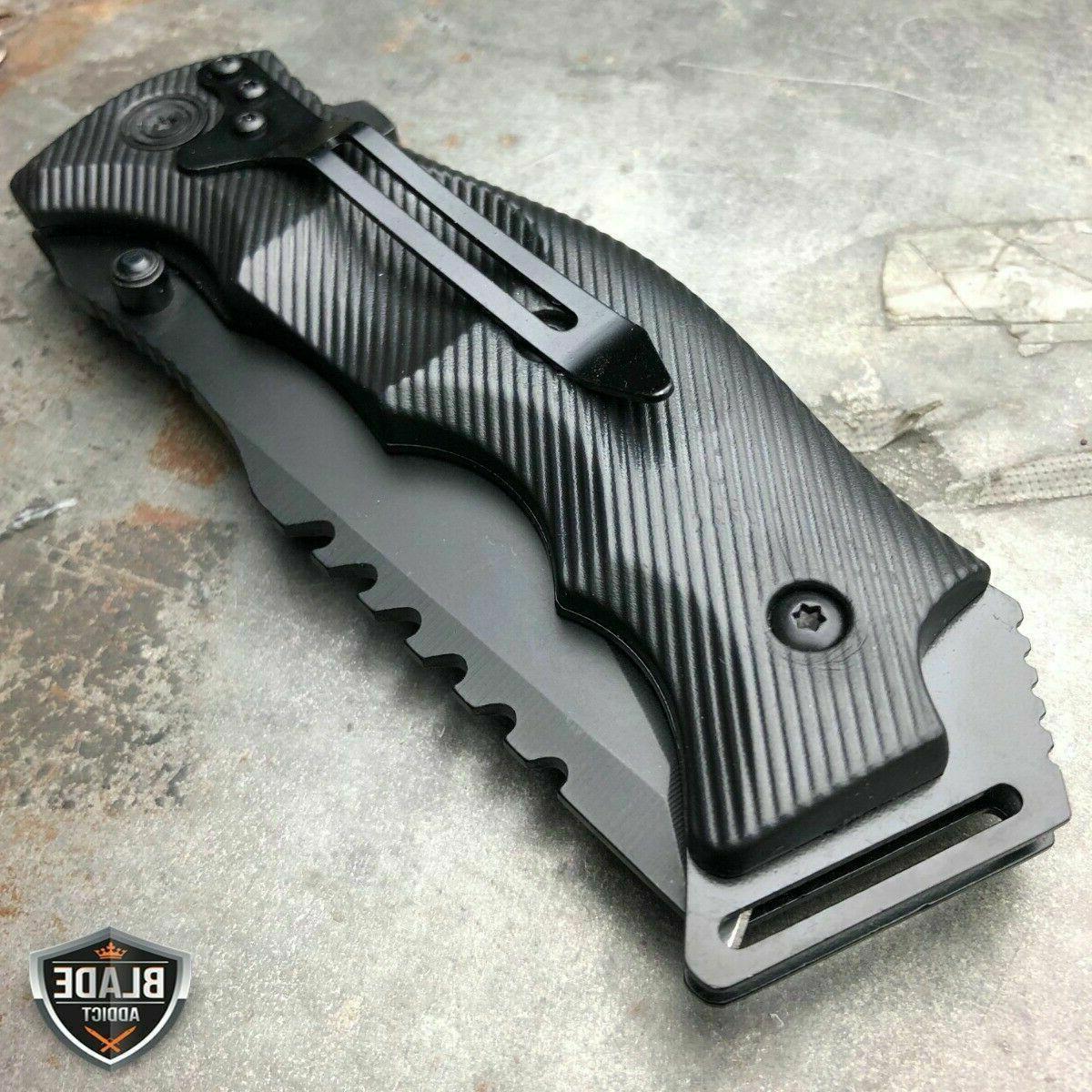TACTICAL Spring Assisted Open Pocket Knife FOLDING Black