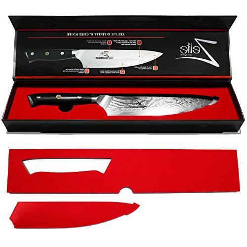 ZELITE INFINITY 8 inch Series - Best 67 Damascus Razor Sharp, Retention, Stain Resistant Knives