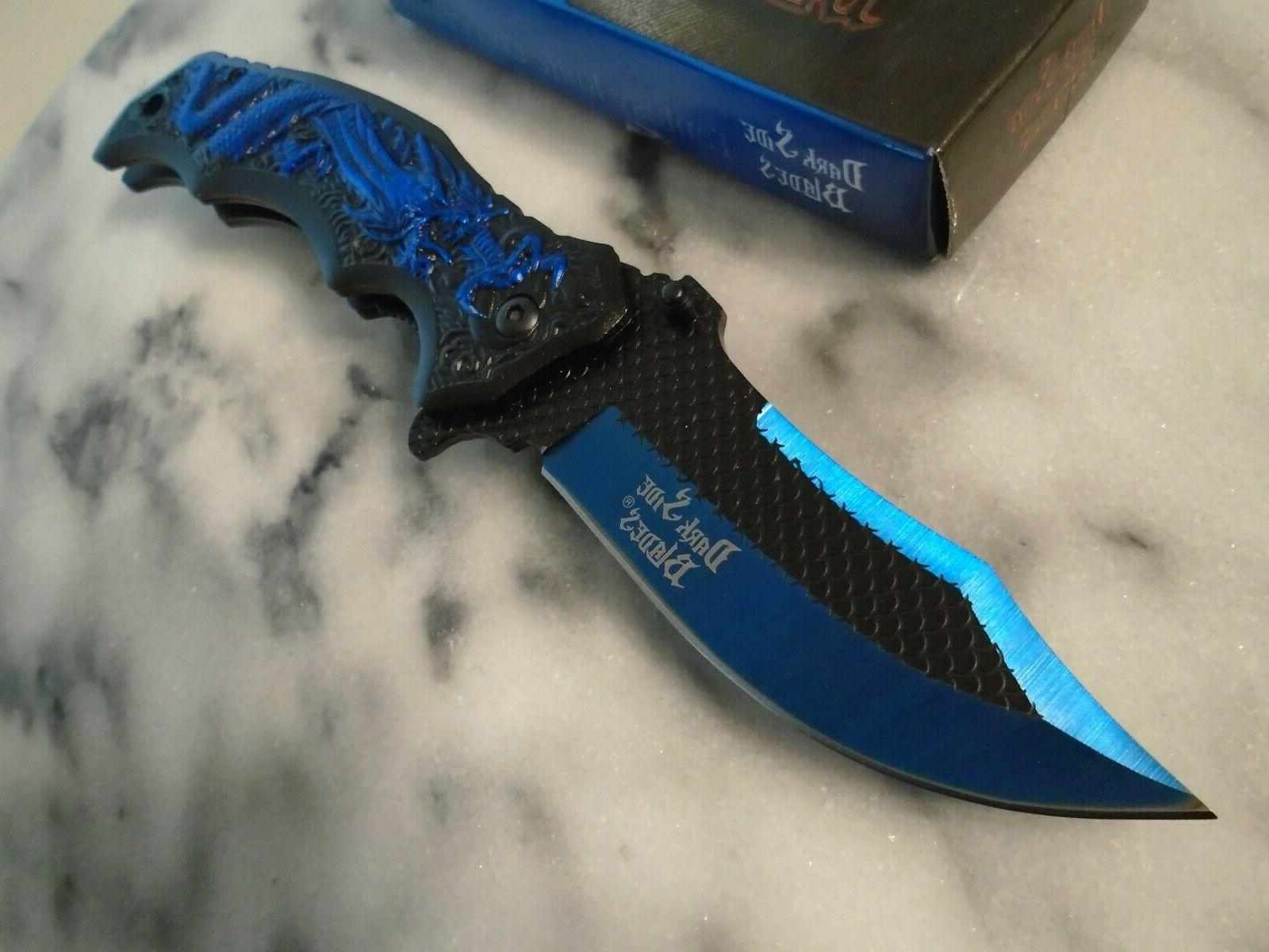 Dark Open Blue Dragon Pocket Knife A058BL Open